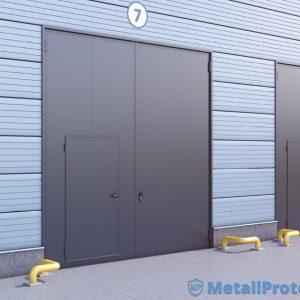 Гаражные ворота ВГМП – 009 промышленные (4000*2900 мм, ребра жесткости, окрас х/в, штыри противосъёмные, петли с маслёнкой, замок Маттем)
