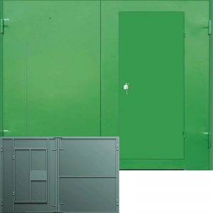 Ворота с калиткой, не утеплённые, окрас XB [MP – 003]