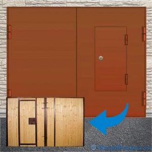 Утеплённые ворота для гаража, отделка евро-фанерой [MP - 008]