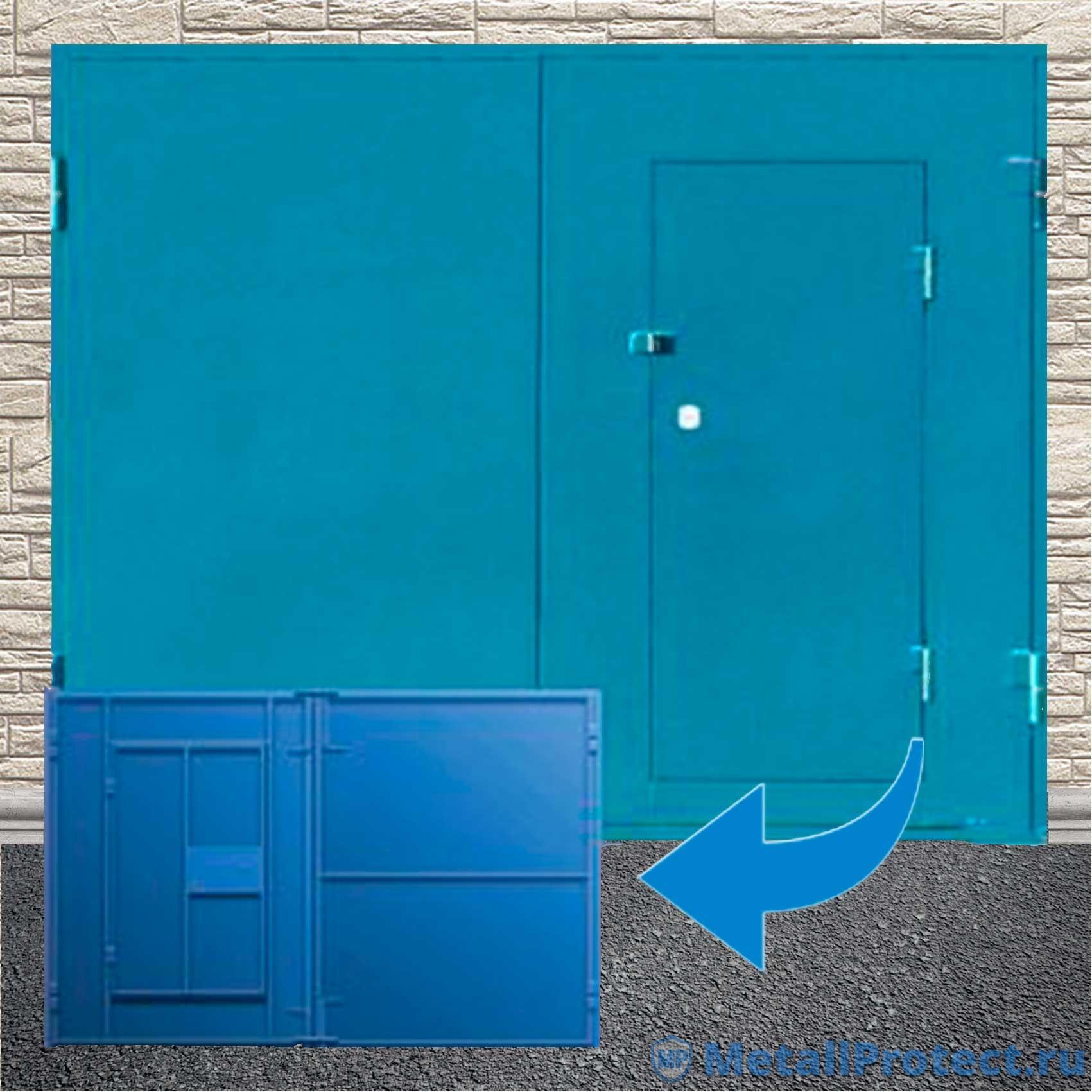 Распашные ворота с калиткой ВГМП – 003 (Без утепления и покраски)