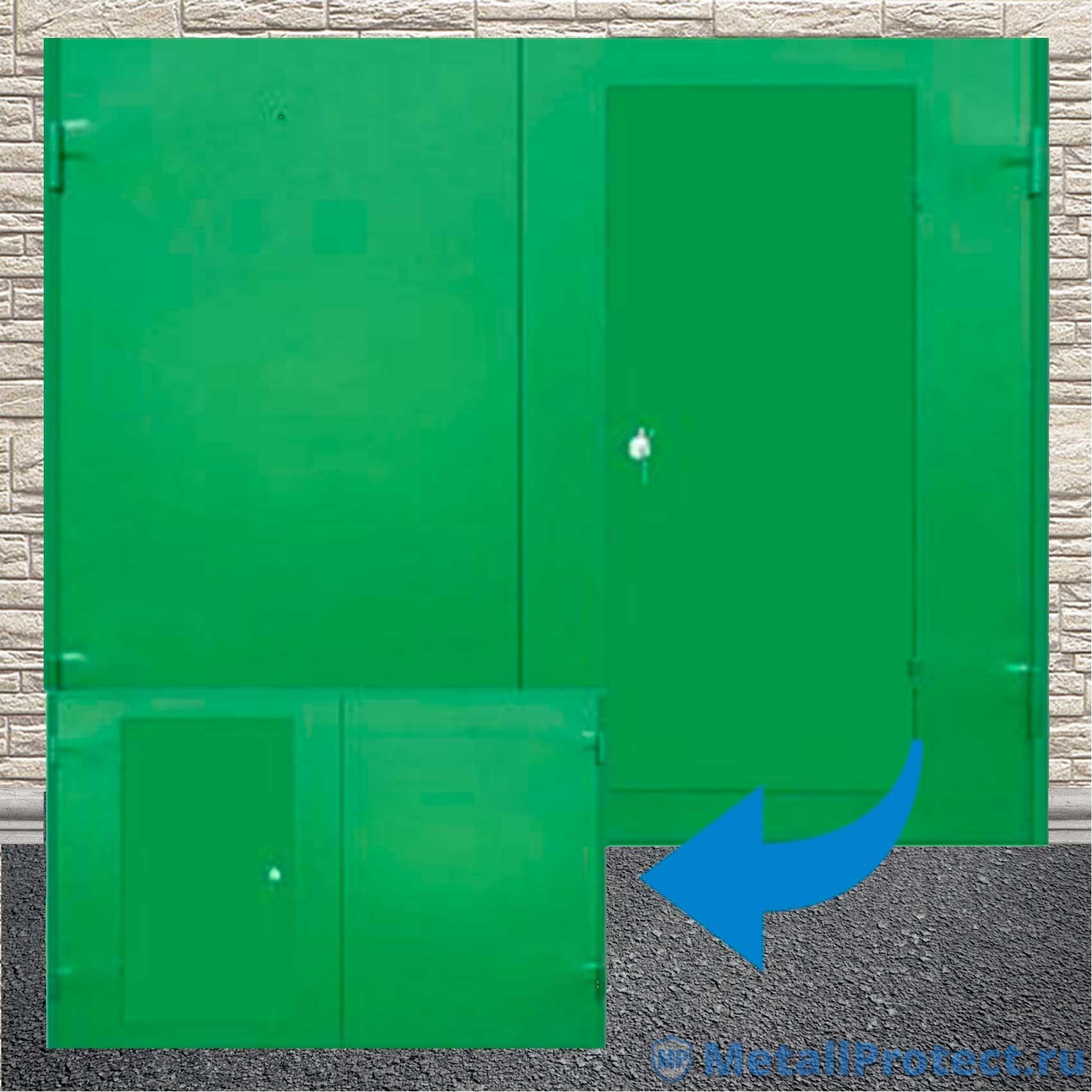 """Распашные ворота """"Двойной металл"""" ВГМП – 005 (С калиткой, утеплённые, окрас – х/в, отделка – лист металла, рама – уголок)"""