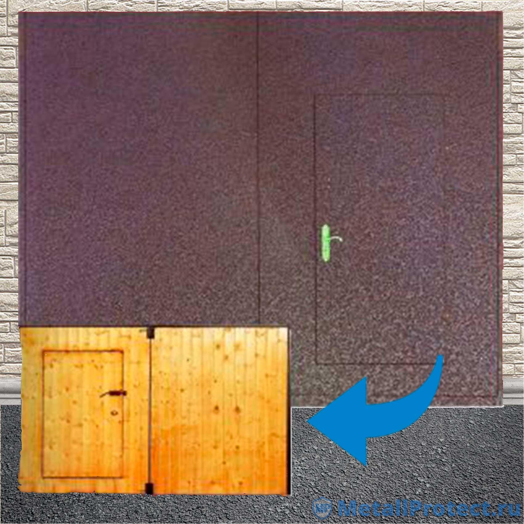 Распашные ворота гаражные с порошковой покраской ВГМП – 006 (Калитка, утеплённые, окрас – порошок, отделка – вагонка, рама – уголок, штыри противосъёмные, петли с маслёнкой)